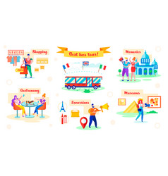 Set best bus tour shopping and gastronomy flat vector