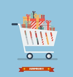 shopping cart with piles presents vector image