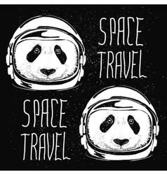 Space helmet panda pattern vector