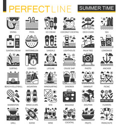 summer time vacation black mini concept icons vector image
