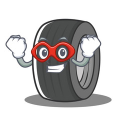 Super hero tire character cartoon style vector