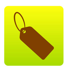 tag sign brown icon at green vector image