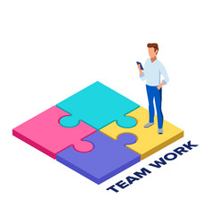 team work concept collect a puzzle concept for vector image