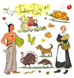 Thanksgiving day hand drawn collection Set 4 vector