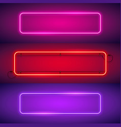 three rounded rectangular neon frames vector image