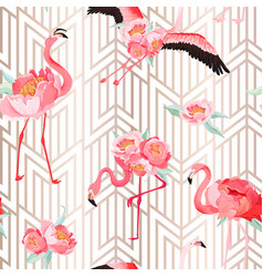 tropical flamingo seamless summer pattern flowers vector image