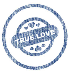 true love stamp seal rounded fabric textured icon vector image
