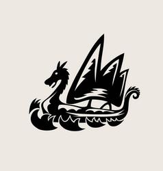 Viking ship logo silhouette vector
