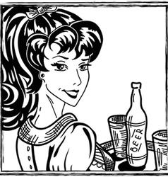 Waitress portrait vector image