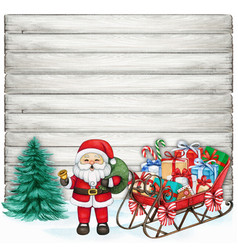 watercolor hand drawn santa with sleigh on shabby vector image