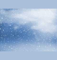 Winter sky with falling snow vector