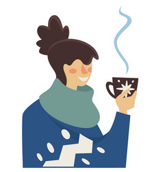 Woman drinking hot coffee or tea in winter vector