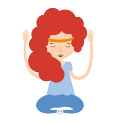 Woman relax meditation icon vector