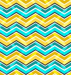 Yellow and blue zig zag seamless pattern vector image