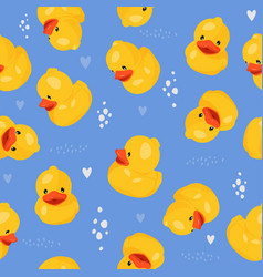 Yellow rubber duck seamless pattern fun kids vector
