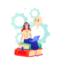 young woman learns foreign language in online vector image