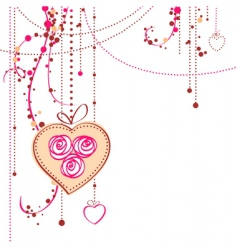 background with rose and heart vector image vector image