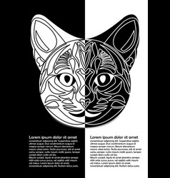 black and white cat head in inverse leaflet vector image vector image