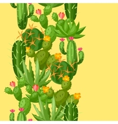 Cactuses and plants abstract natural seamless vector