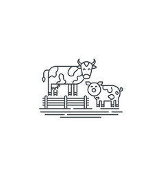 farm cows line icon outline of two vector image vector image