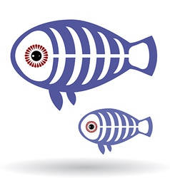 Funny X-ray fish on a white background vector image vector image