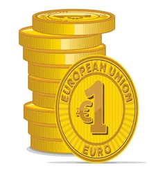 Golden coins with euro sign vector image vector image