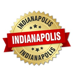 Indianapolis round golden badge with red ribbon vector image
