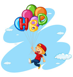 little boy flying with balloons vector image