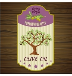 Olive Label On Wood vector image