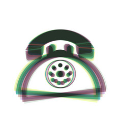 retro telephone sign colorful icon shaked vector image vector image