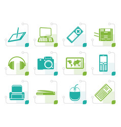stylized hi-tech technical equipment icons vector image