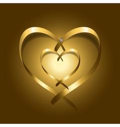Two Gold silk ribbon hearts vector image