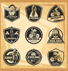 black biking emblems set vector image