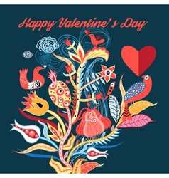 floral background with birds in love vector image