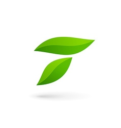 Letter T eco leaves logo icon design template vector image