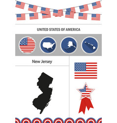 map of new jersey set of flat design icons vector image vector image