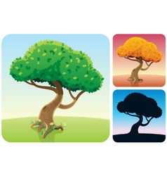tree square landscapes vector image vector image
