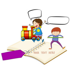 blank notebook with two boys and train background vector image