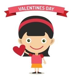 Cute cartoon girl with heart vector image