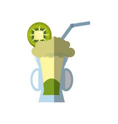 delicious juice kiwi fruit shadow vector image