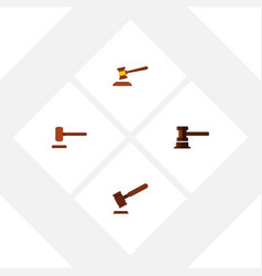 flat icon hammer set of defense justice hammer vector image vector image