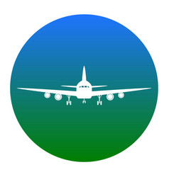 flying plane sign front view white icon vector image