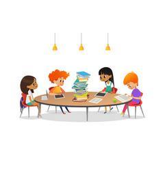 group of school children sitting around circular vector image