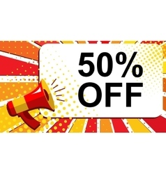 Megaphone with 50 PERCENT OFF announcement Flat vector image