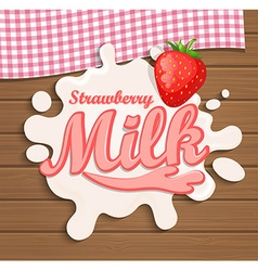 Milk strawberry splash vector image vector image