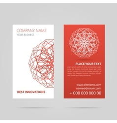 Red business card with mandala vector image