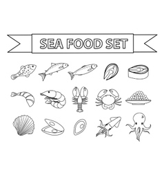 Sea food icons set Modern line doodle vector image vector image