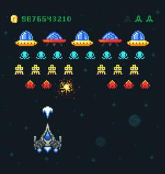 vintage video space arcade game pixel vector image