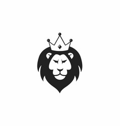 wild lion with crown logo icon design vector image