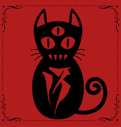3 eyed cat n013 with floral frame ornament vector image